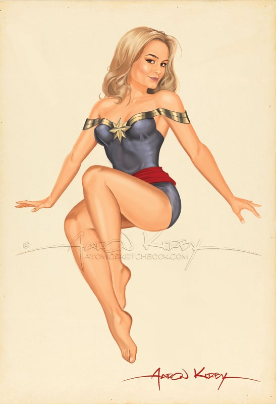 Image of Captain Marvel (Brie Larson) pin up print