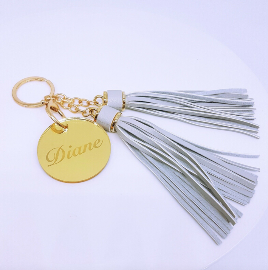 Tassell Keyring With Round Name Tag