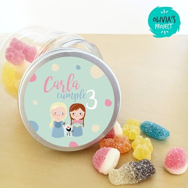 Image of Tarritos de chuches cumple - Frozen y el verano de Olaf