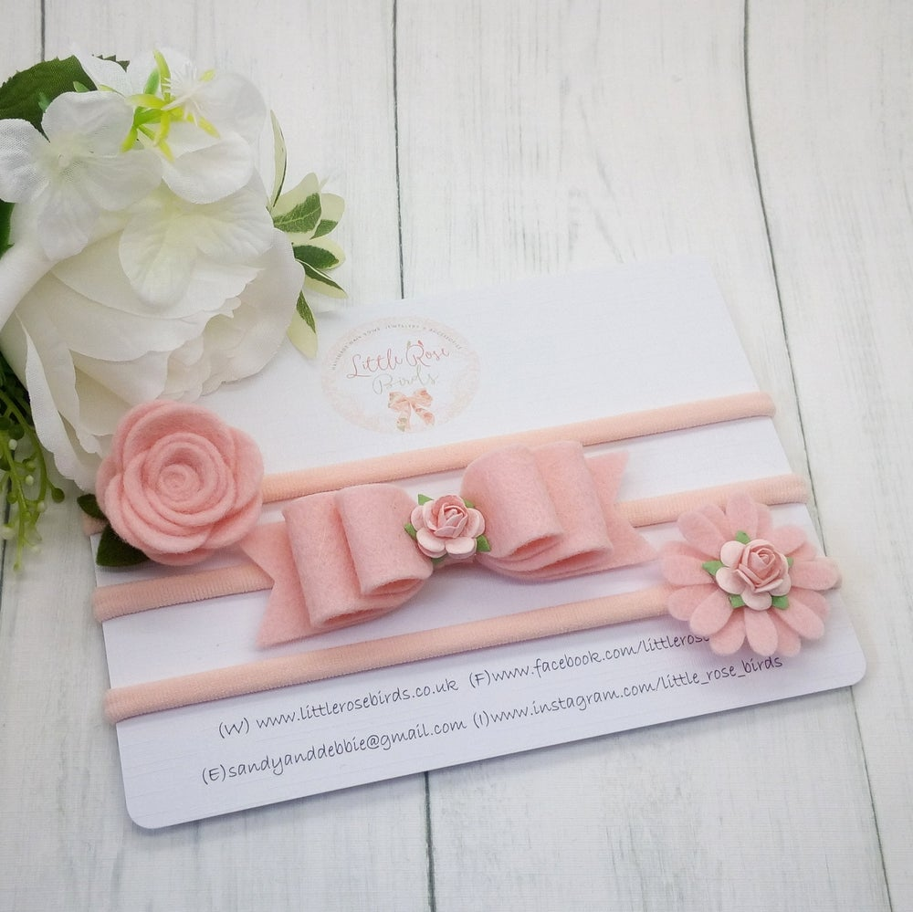 Image of SET OF 3 Blush Pink Headband or Clip Set