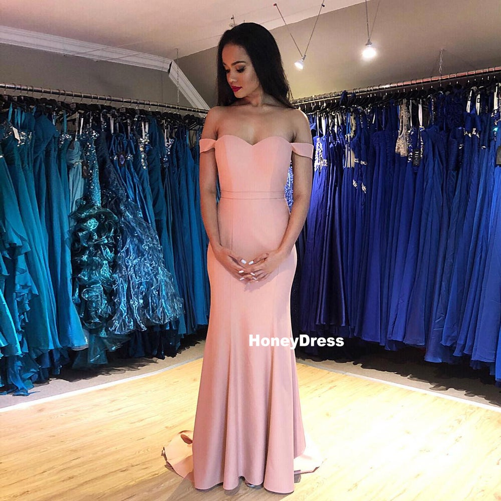 Image of Dusty Rose Off-the-Shoulder Sweetheart Prom Dresses, Mermaid Evening Formal Gowns With Sweep Train