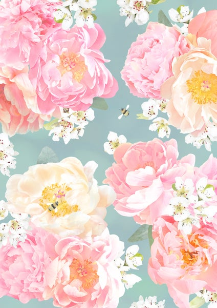 Image of Peony and Bee Print
