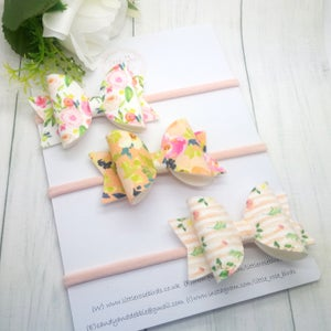 Image of 3x Suede Floral Bows on Clips or Headbands
