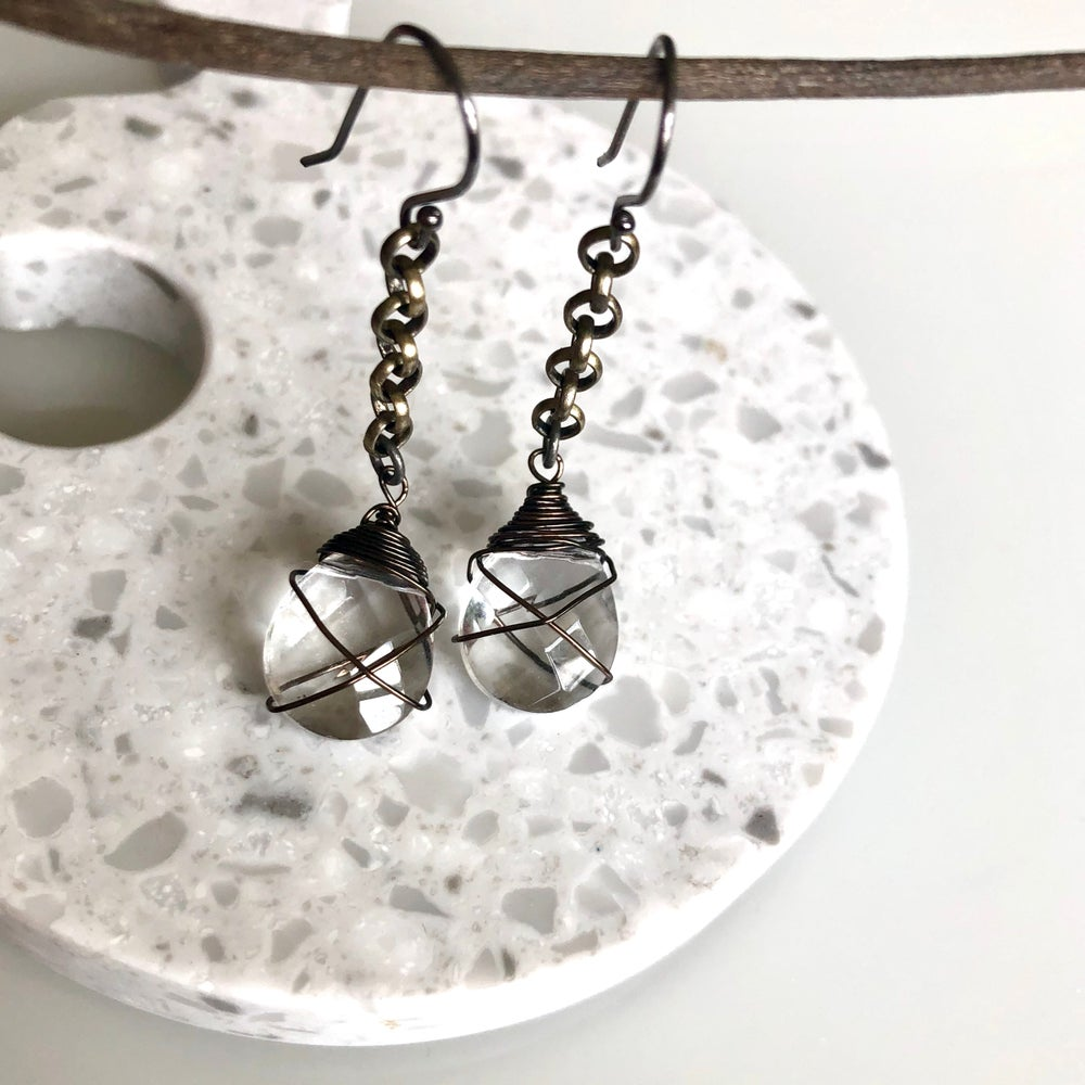 Image of Quartz Drop Abstract Wire Earrings