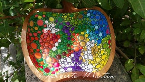 Image of Colorful dotted Acacia Large wooden tray by Alberto Martín
