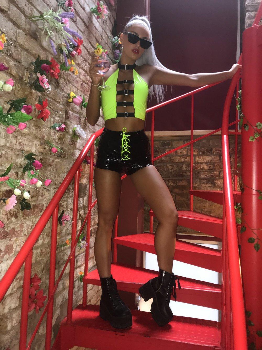 Colour POP Neon Lime vinyl shorts WAS 25.99 NOW 20.00!