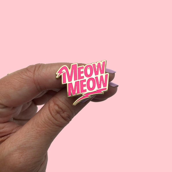 Image of meow meow enamel pin - enamel cat pin - david bowie pin - lightning bolt pin