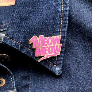 Image of meow meow enamel pin - enamel cat pin - david bowie pin - lightning bolt pin