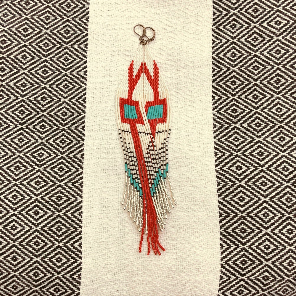 Image of CASCADIA - Turquoise square fringe earrings