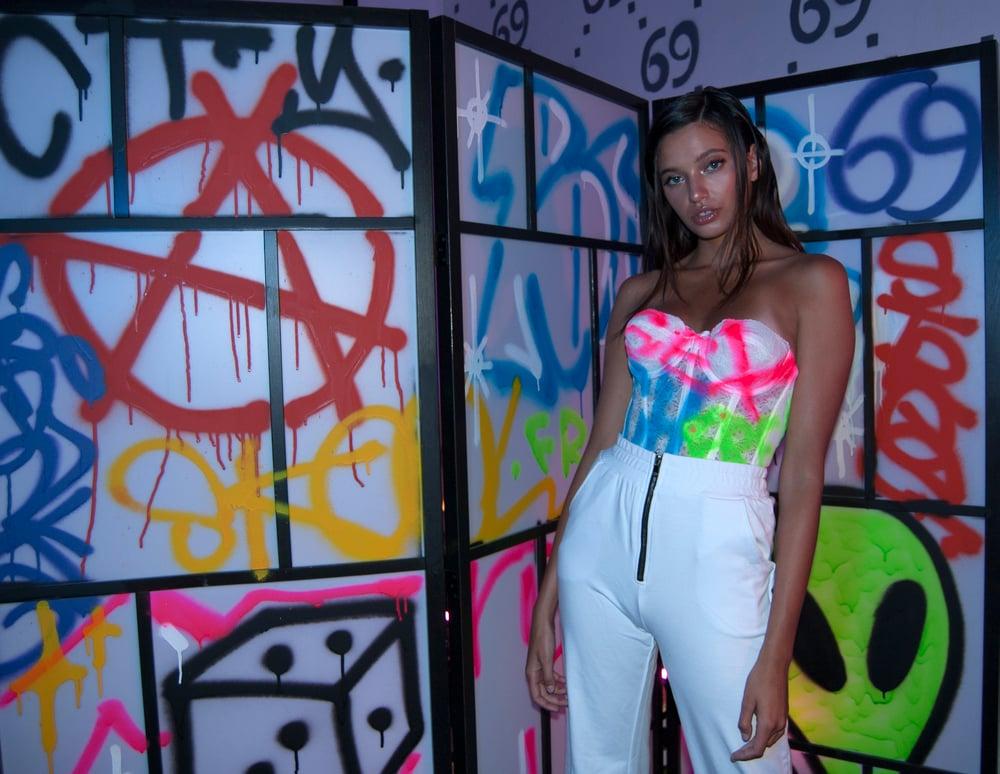 Image of Freak City graffiti lace SEX corset