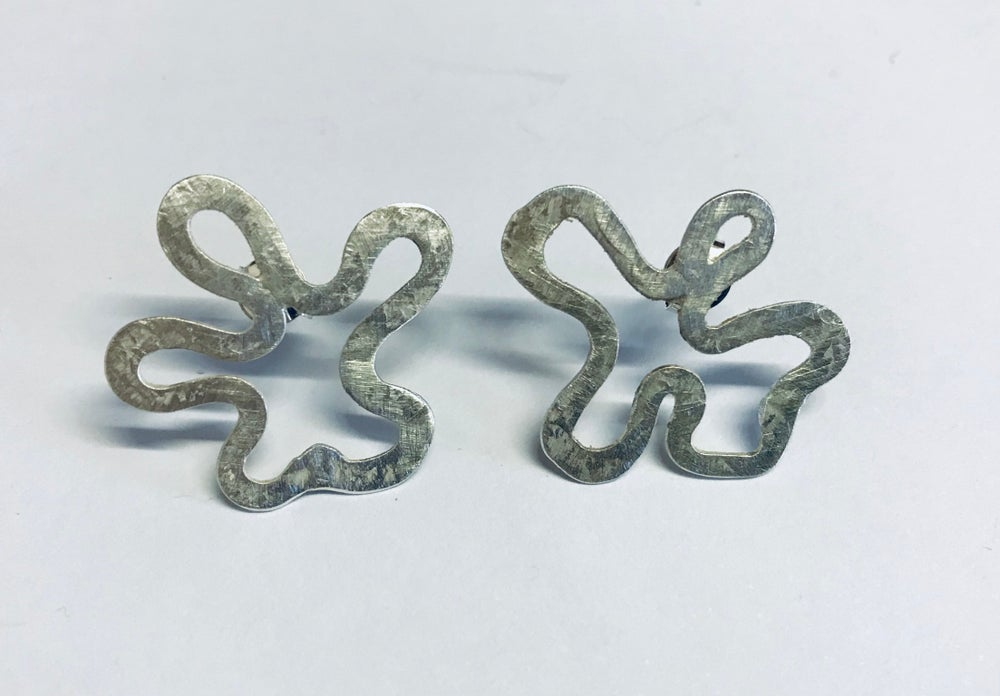 Image of Small squiggle silver studs