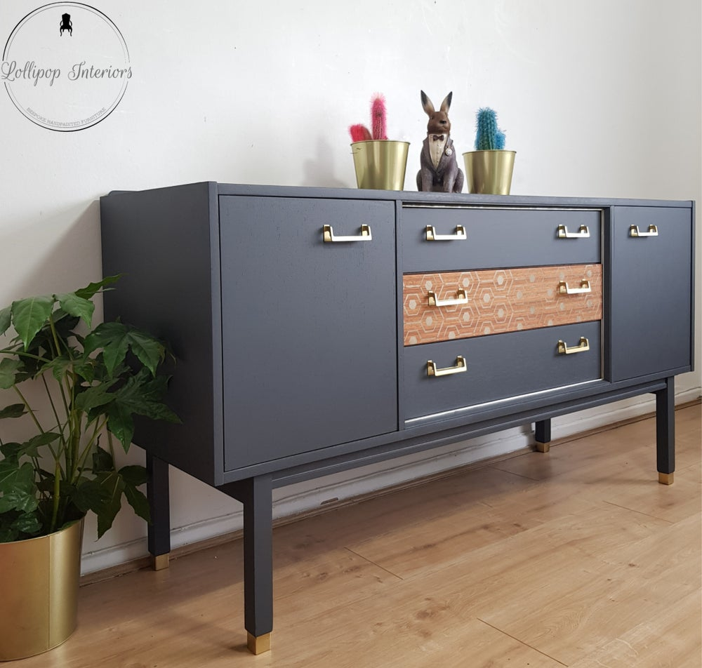 Image of G plan 1962 sideboard in ash grey and vintage gold