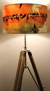 Image of Swallows at Sunrise Drum Lampshade by Lily Greenwood (45cm, Standard/Floor Lamp or Ceiling)