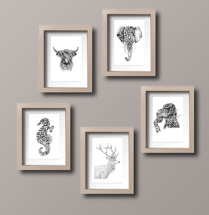 Image of Set of FIVE Animal Art Cards
