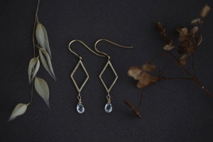 Image of 9ct gold, Rhombus and white sapphire earrings