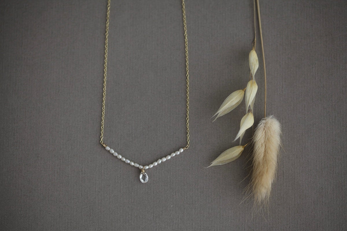 Image of 9ct gold, Seed pearl and white sapphire necklace