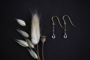 Image of 9ct gold, rose cut, white sapphire earrings