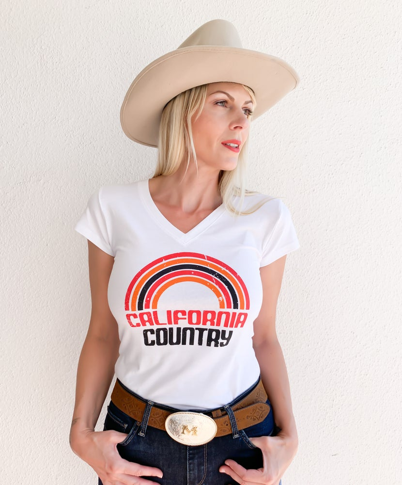 Image of California Country Womens Tee - White V Neck