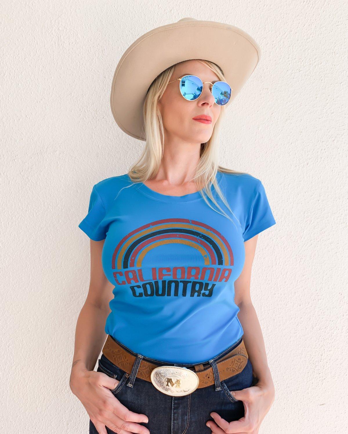 Image of California Country Womens Tee - Ocean Blue