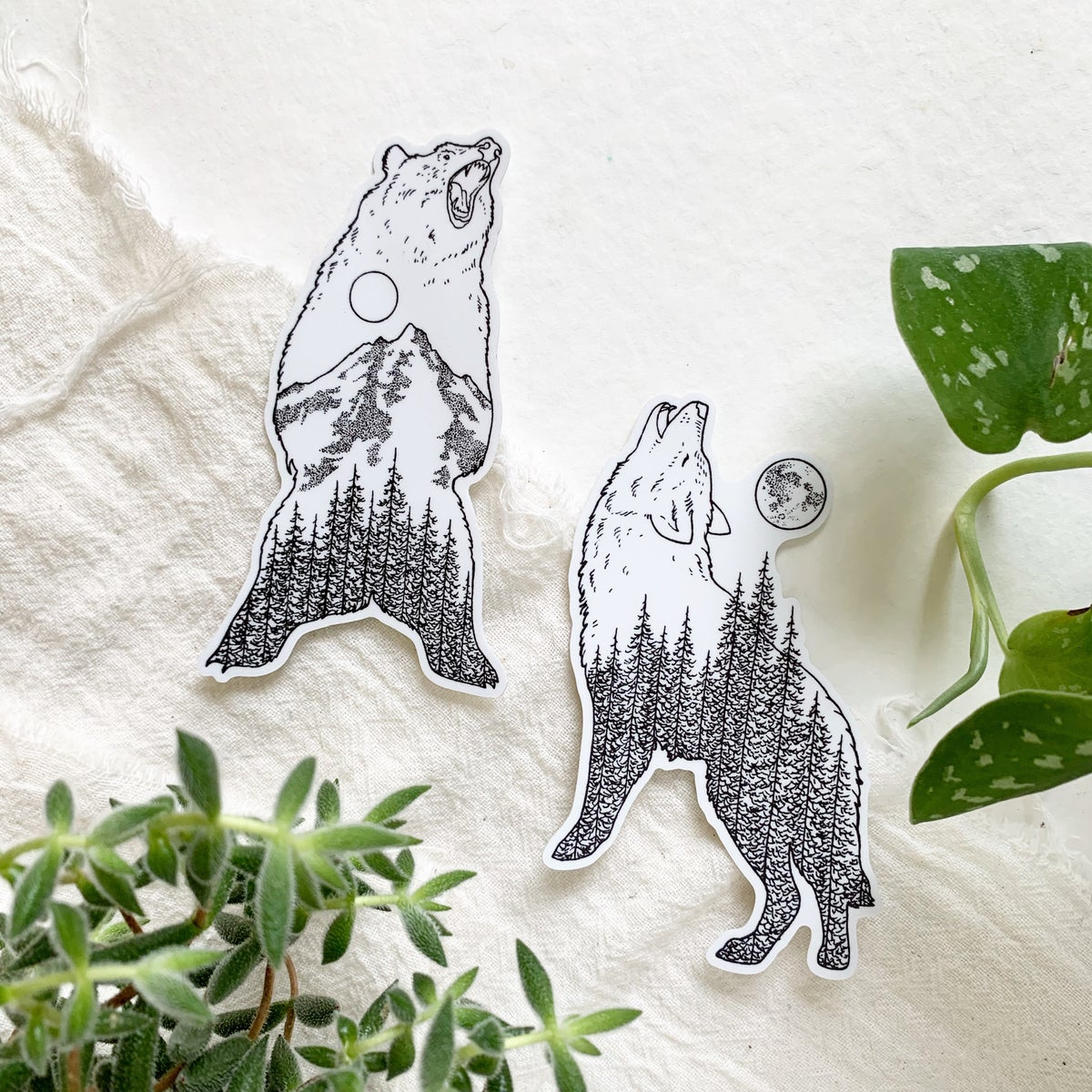 Image of Wolf and Bear Sticker Set