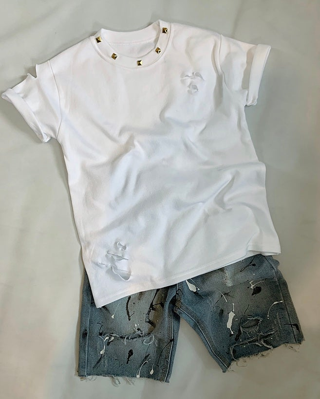 Image of White Studded Distressed Tee