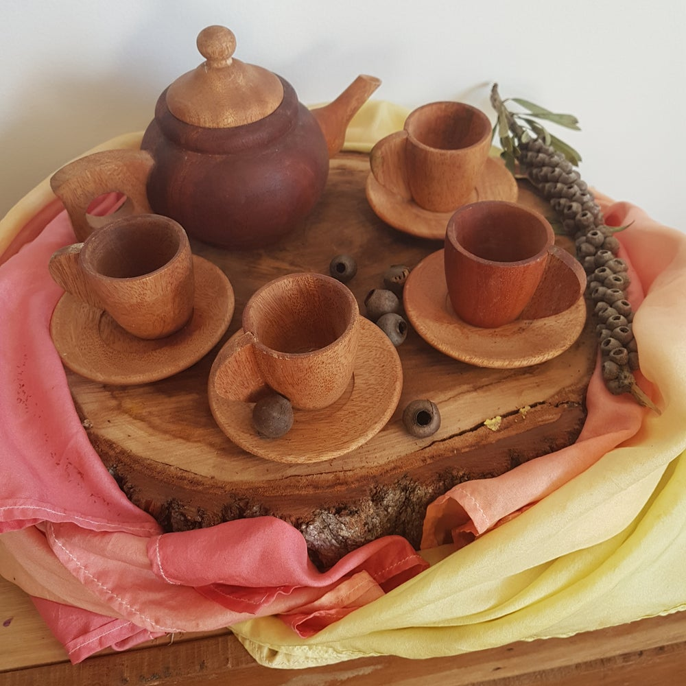 Image of Wooden Tea Set