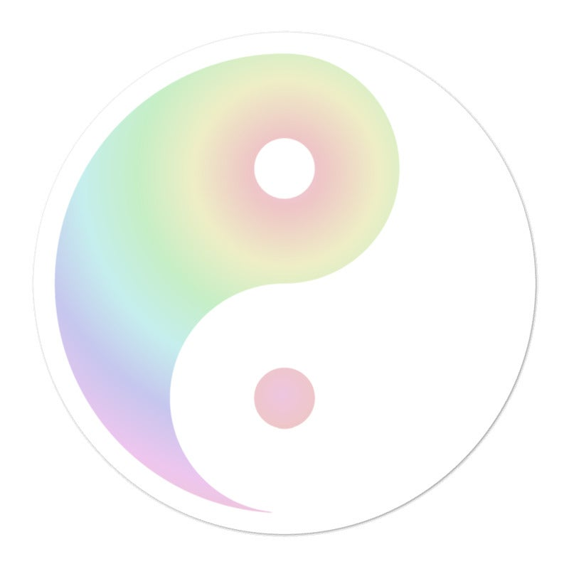 Image of Rainbow Yin Yang Sticker - Pastel