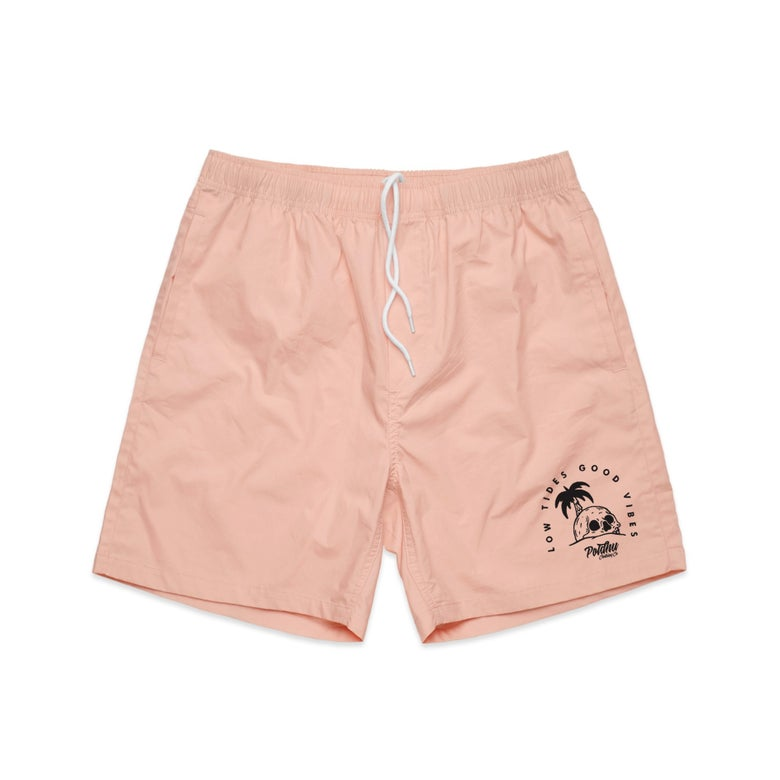 "Image of Beach Shorts Pink ""Low Tides Good Vibes"""
