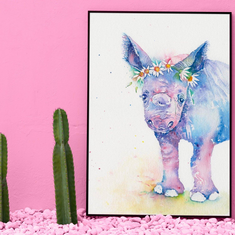 Image of Bella, the baby Rhino, FREE SHIPPING
