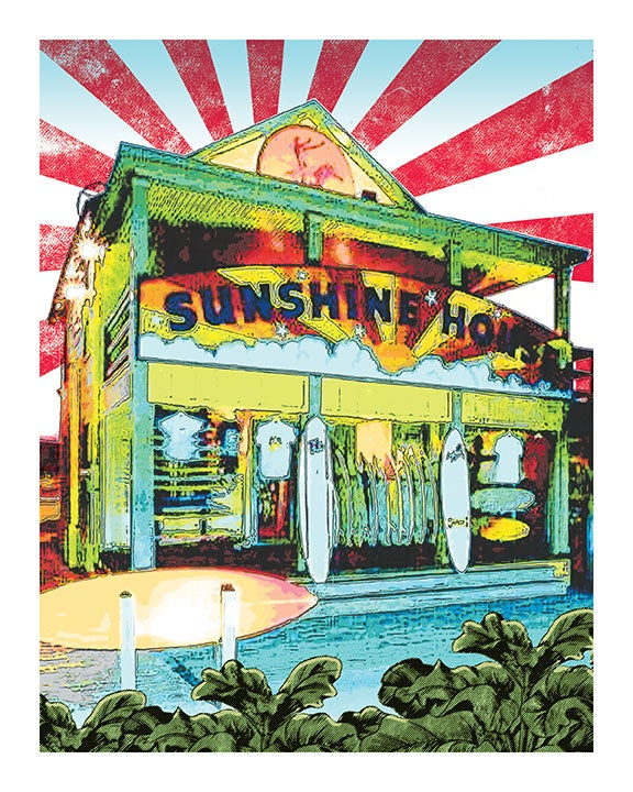 Image of Sunshine House Surf Shop Print