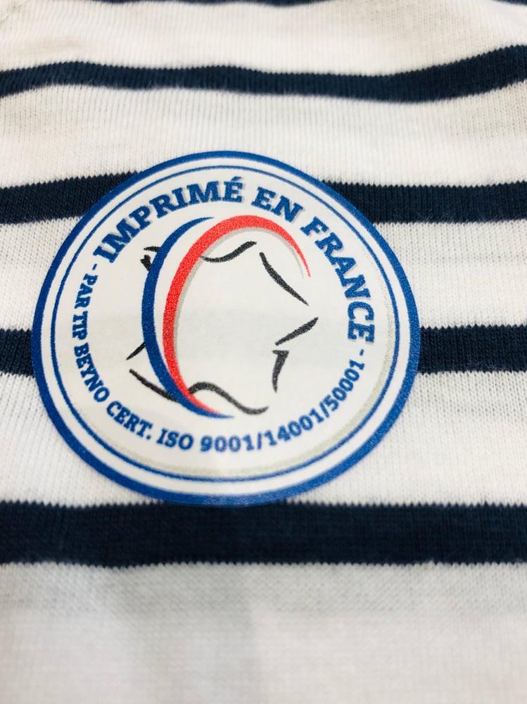 """Image of T-Shirt Marinière Blanc et Bleu Marine Chirac """"Ici c'est la Corrèze"""""""