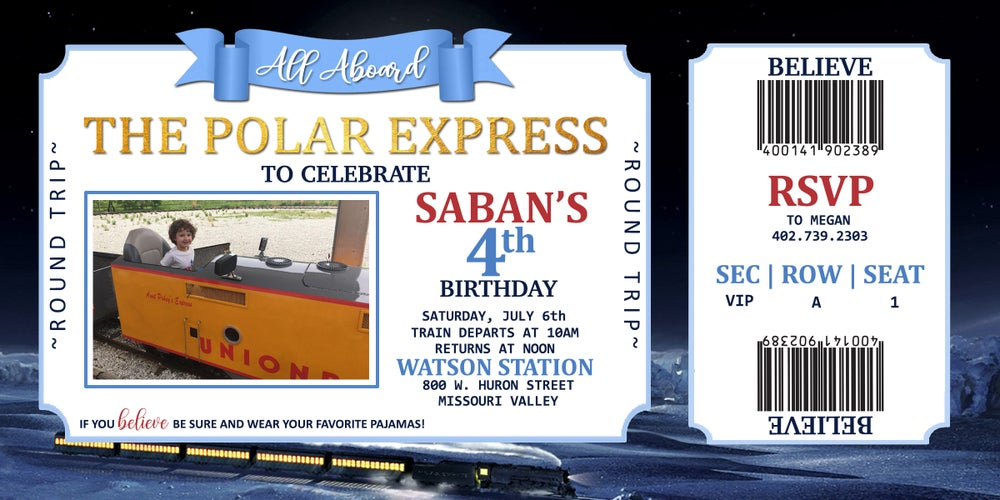 Image of Polar Express Birthday Invitations & Thank You Card