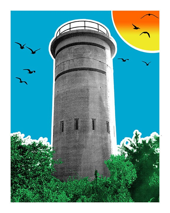 Image of Beach Lookout Towers Print