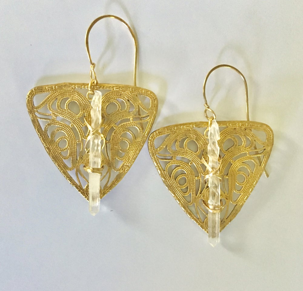 Image of Crystal Shield Earrings