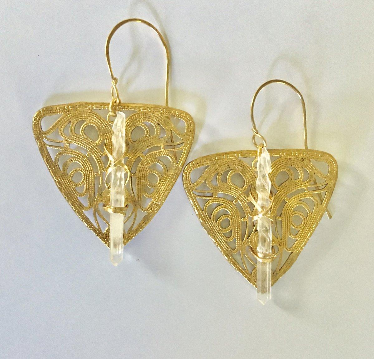 Image of Crystal Shield Earrings