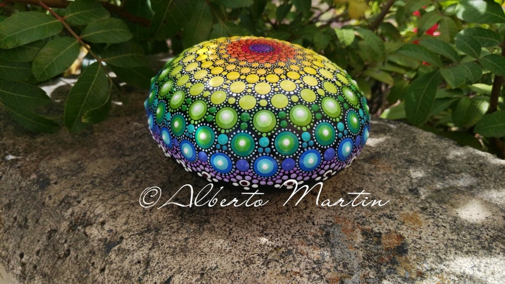 Image of Rainbow Mandala painted stone by Alberto Martin