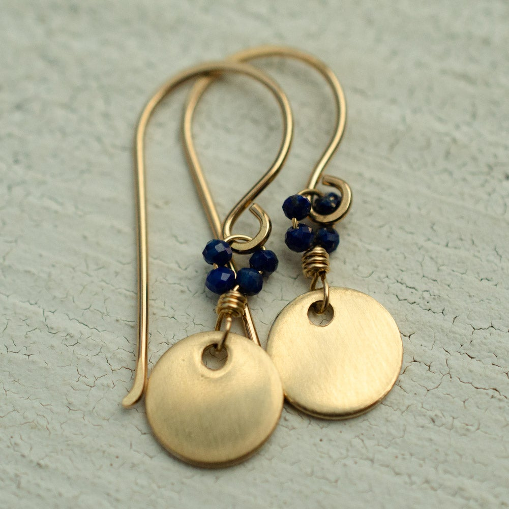 Image of Minimalist gold disc earrings lapis lazuli
