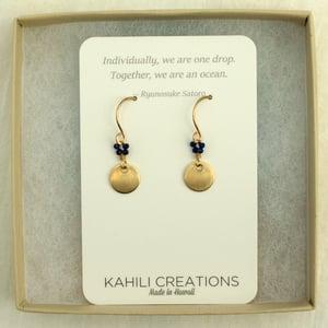 Image of Minimalist gold disc earrings lapis lazuli