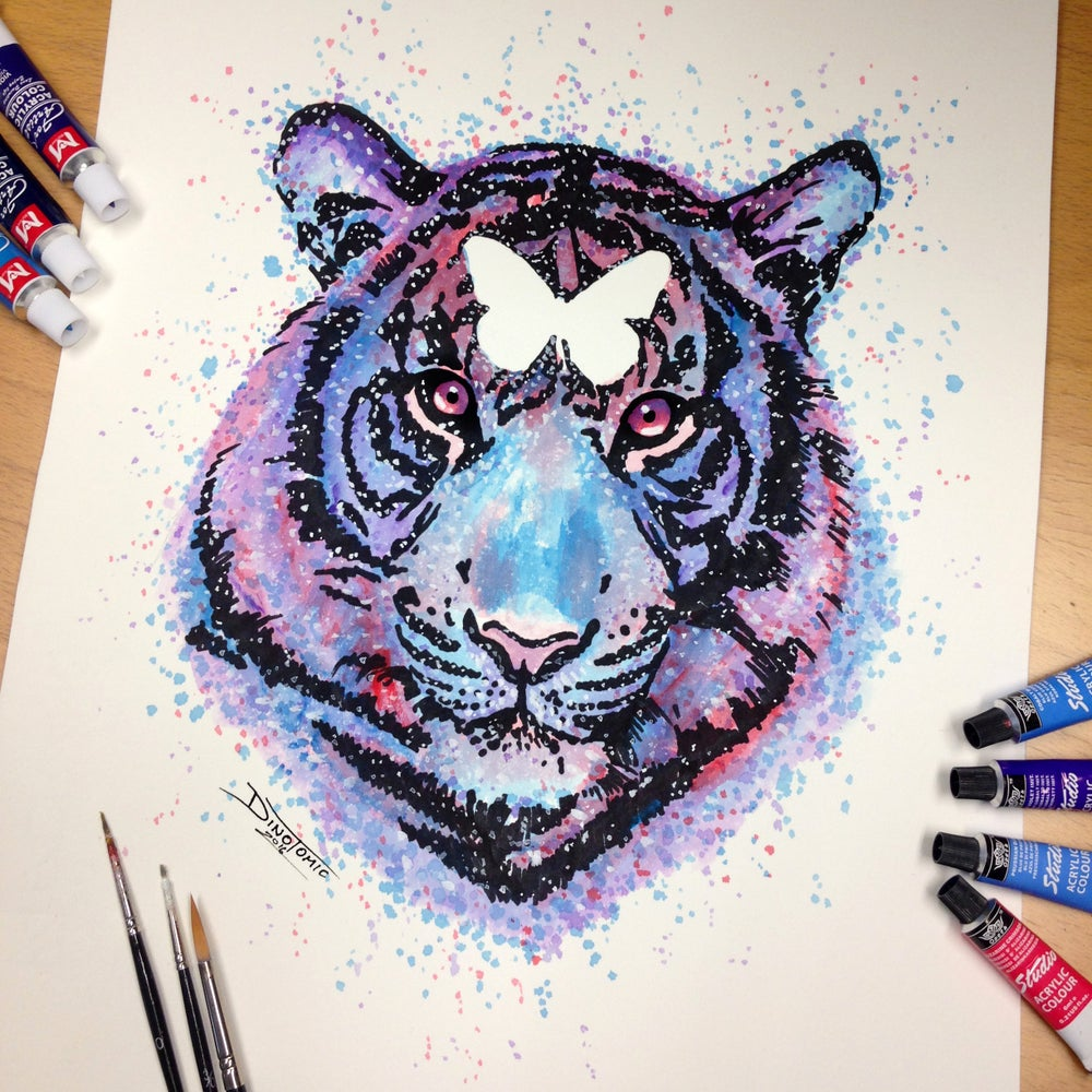 Image of #123 Tiger Splatter Drawing