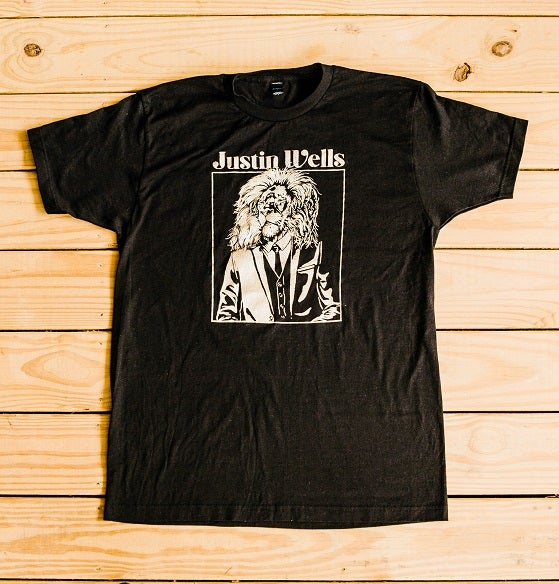 Image of Justin Wells Lion Shirt (Black & Gold)