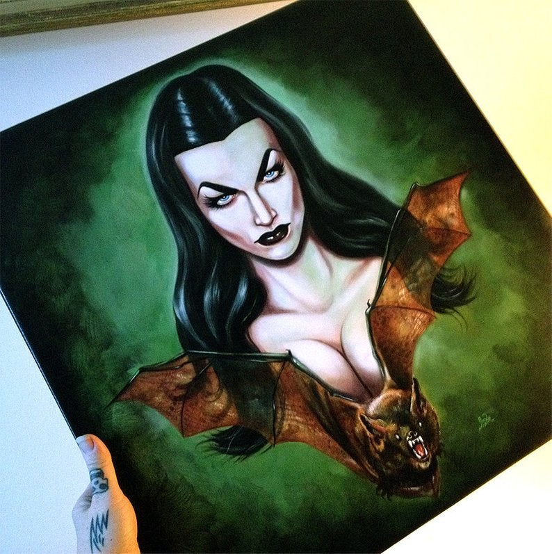 Image of big canvas giclee's ready to hang GWAR ! Three Graces! Brunilde! Vampira! Lily Munster!!