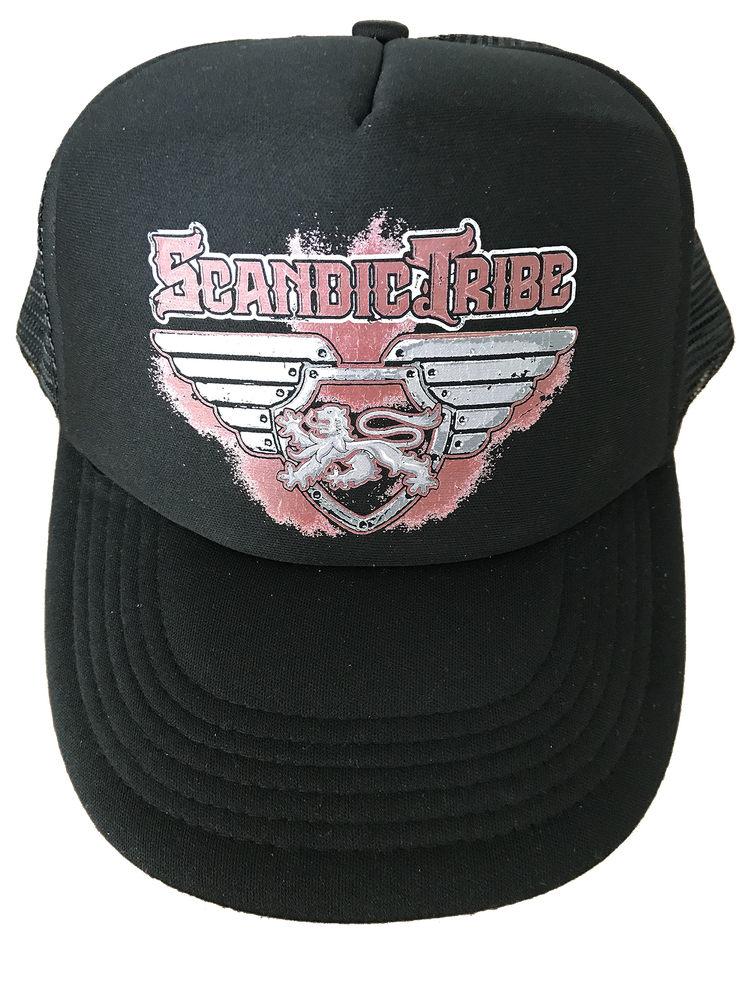 Image of Scandic Tribe // Black baseball cap with distressed logo in red