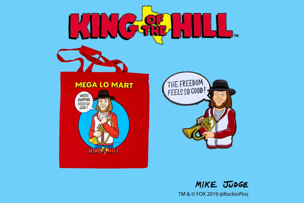 Image of King of the Hill - Mega Lo Mart Tote Bag + Pin