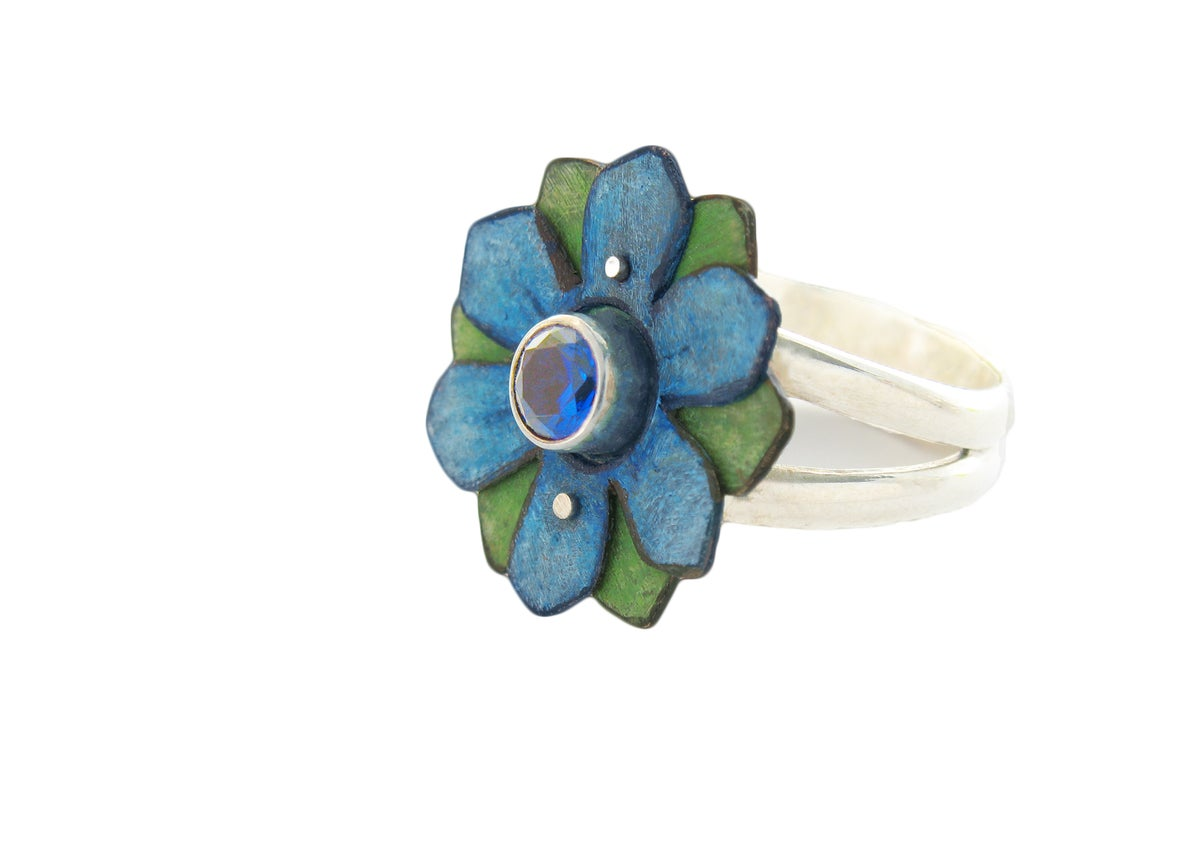 Image of Blue Daisy and Spinel Sterling Silver Ring