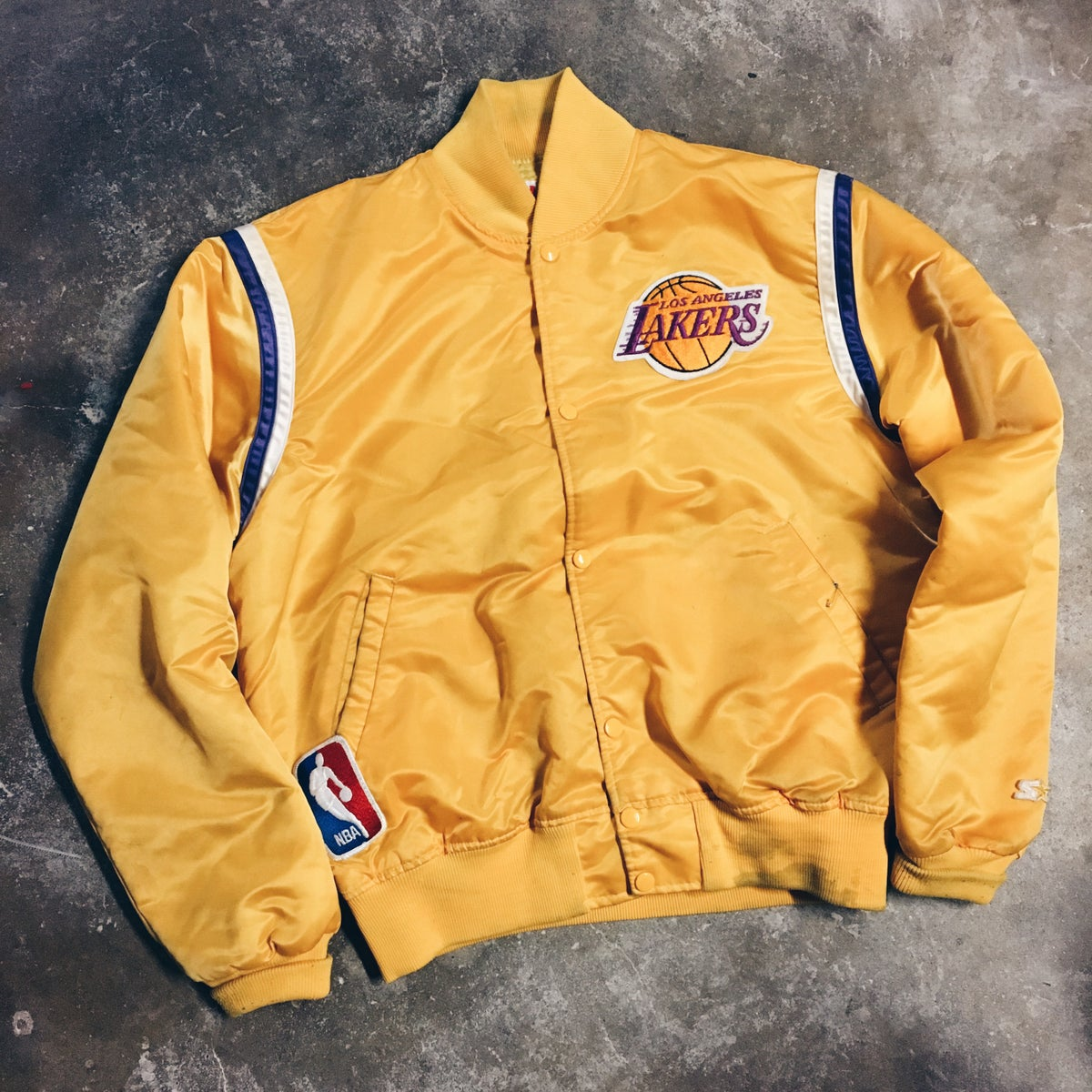 Image of Original Late 80's Made In USA Starter Lakers Satin.