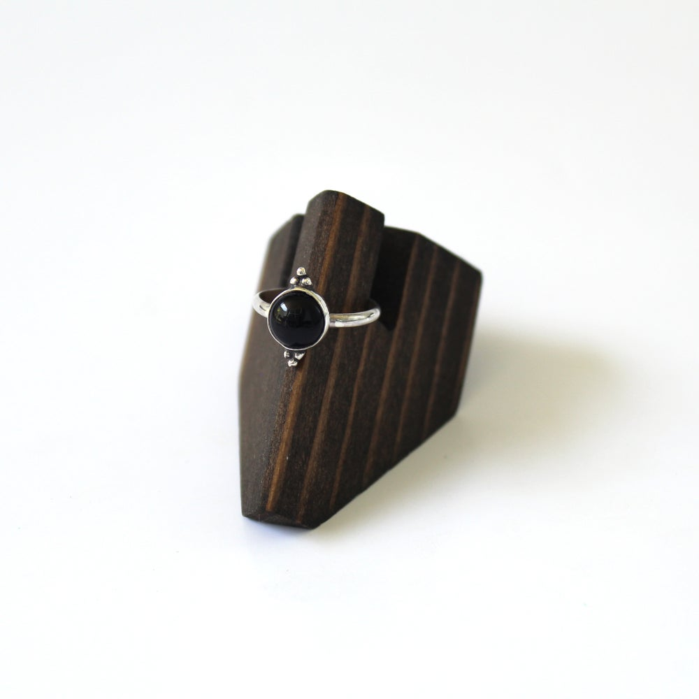 Black Onyx Beaded Sterling Silver Ring