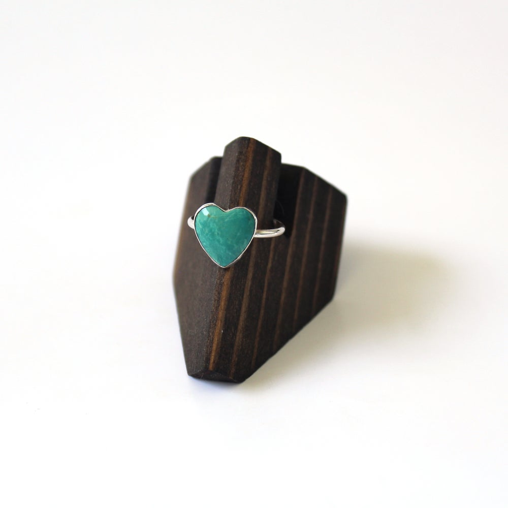 Kingman Heart Turquoise Sterling Silver Ring - Size 7
