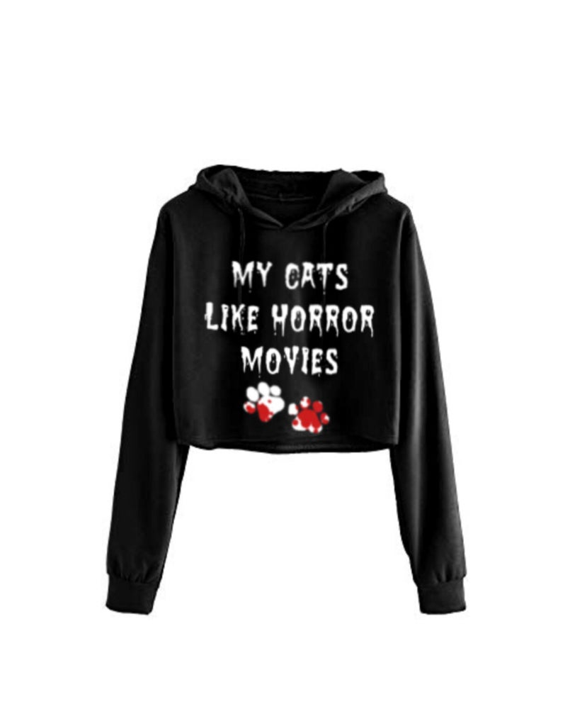 Image of My Cats Like Horror Movies Cropped Hoodie