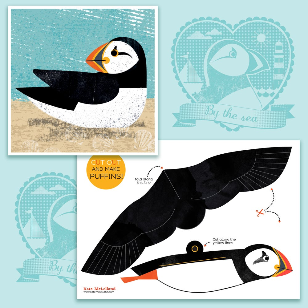 Image of Puffin postcard and cut out and make sheet