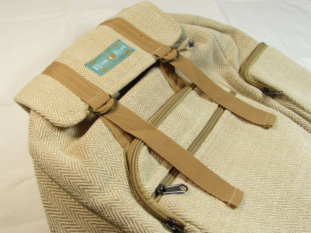 Natural - Adventure Pack - Hemp Backpack | 100% Vegan | Eco Friendly | Handmade | Boho Bag | Organic